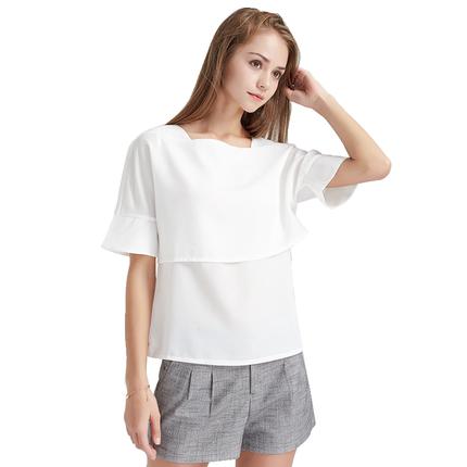 简朵春季新品雪纺衫修身显瘦t恤
