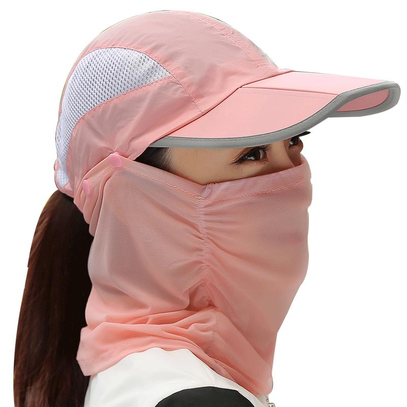 防晒帽子女夏天遮脸防紫外线骑