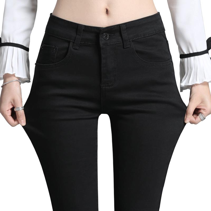 黑色牛仔裤女长裤修身显瘦弹力小脚裤2019春夏新款纯棉韩版铅笔裤