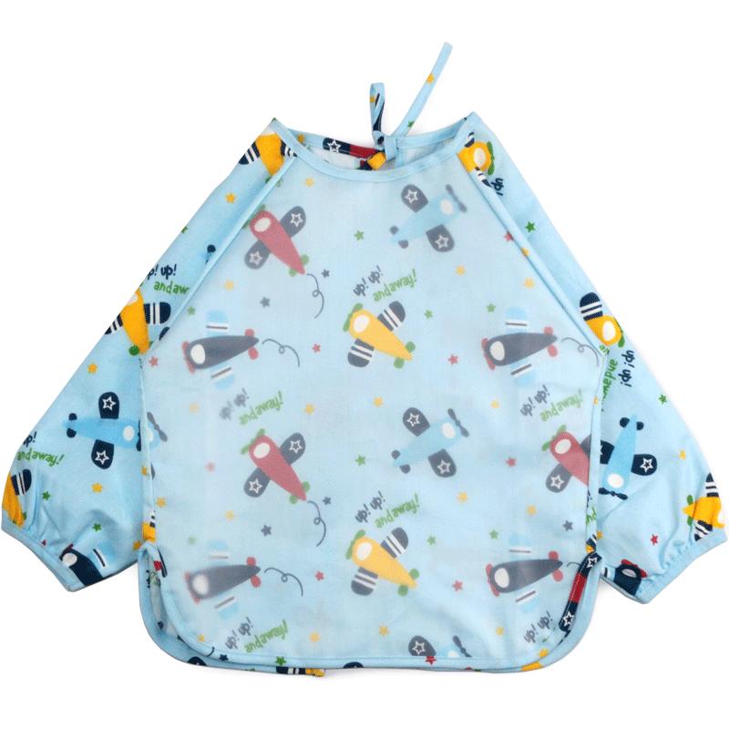 宝宝吃饭围兜罩衣防水吃饭衣长袖小孩反穿衣薄款儿童护衣婴儿围裙