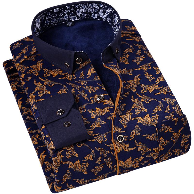 秋冬季加绒加厚长袖保暖衬衫男士中年大码爸爸装休闲格子弹力衬衣