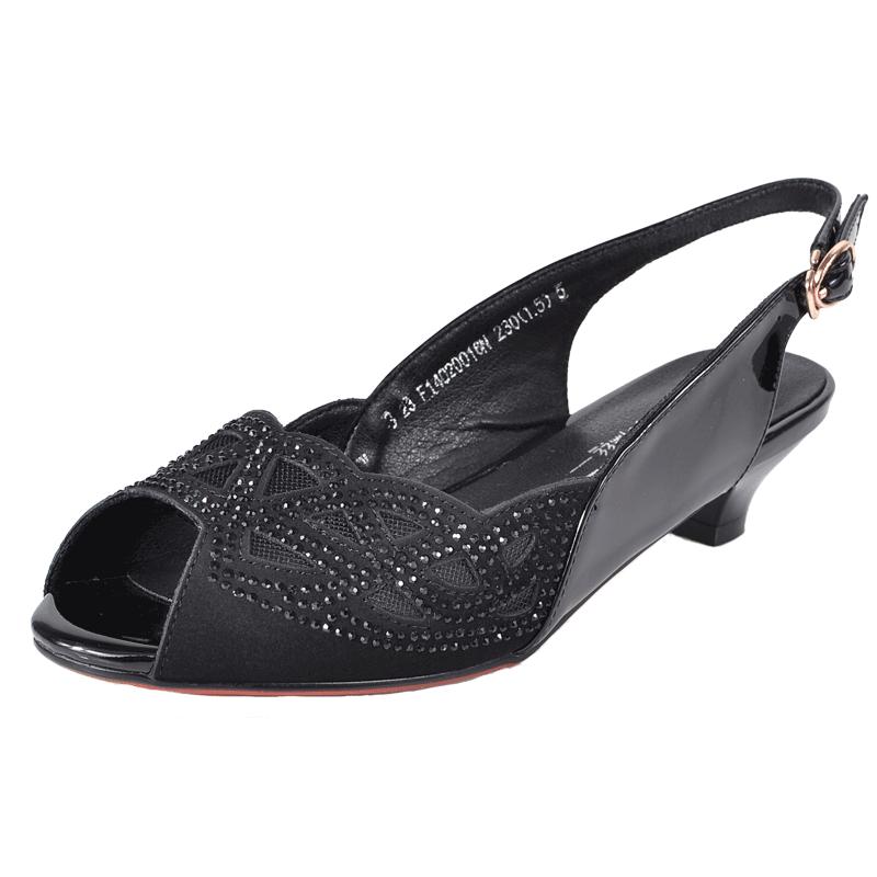 春夏季新款镂空水钻鱼嘴鞋粗凉鞋