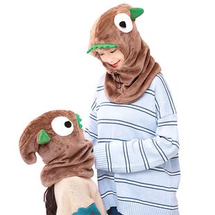 冬季套头帽户外连帽卡通宝宝围脖