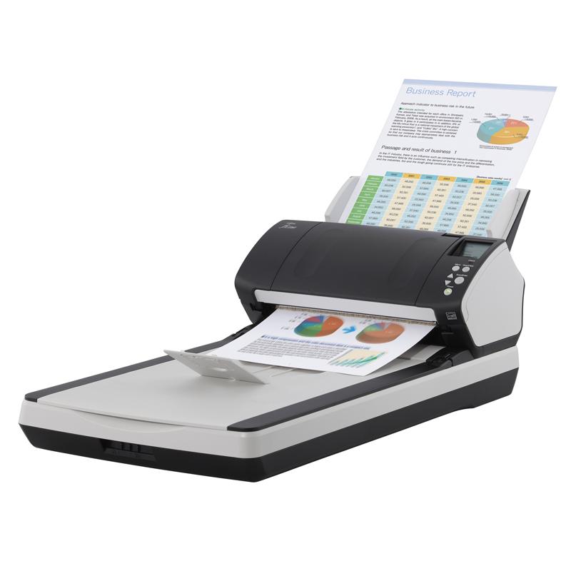 富士通Fi-7240 平板+馈纸式高速扫描仪 快速高清 自动走纸双平台