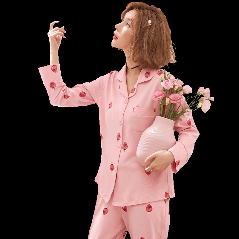 春秋季长袖长裤两件套装韩版睡衣