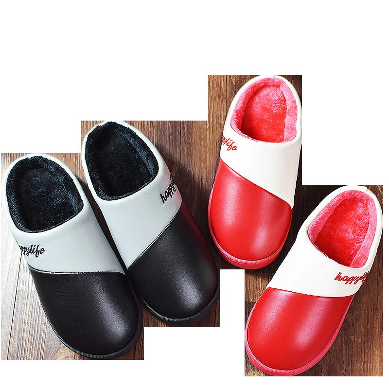 PU皮棉拖鞋女包跟厚底冬季情侣居家居室内保暖棉鞋防滑毛毛拖鞋男
