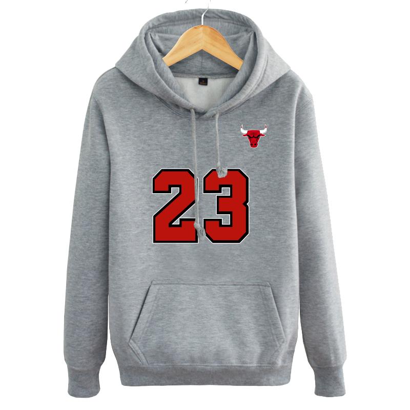 23号公牛经典怀旧男女篮球运动连帽衫冬厚加绒套头卫衣潮学生外套