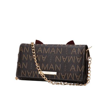 Aman2018新款女士小方包简约迷你港风链条包单肩小包包斜挎包女