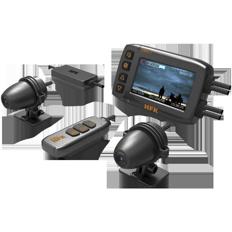 新款HFK HM601摩托车行车记录仪夜视高清摄像机防水前后双镜头