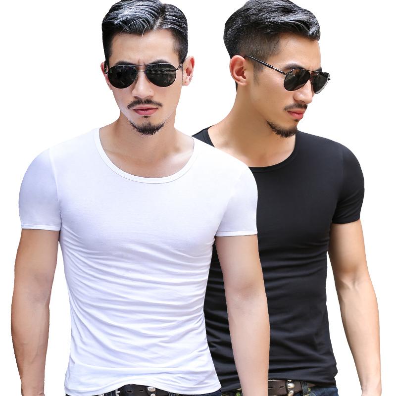夏季短袖T恤男士纯色圆领修身弹力纯棉打底衫半袖紧身运动衣体恤
