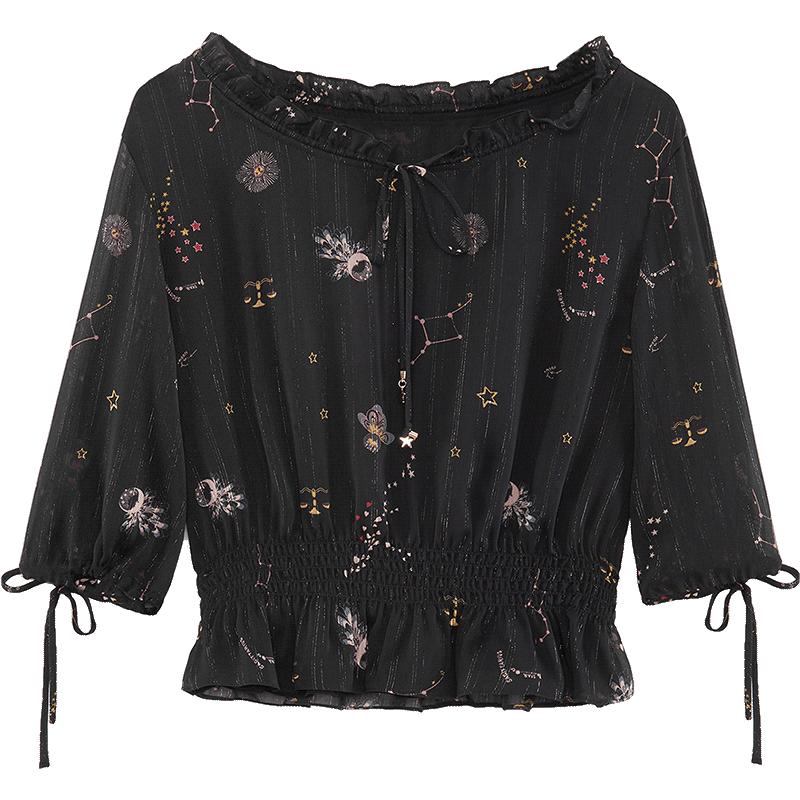 爱居兔2019夏季女装时尚印花收腰轻薄中袖梭织上衣