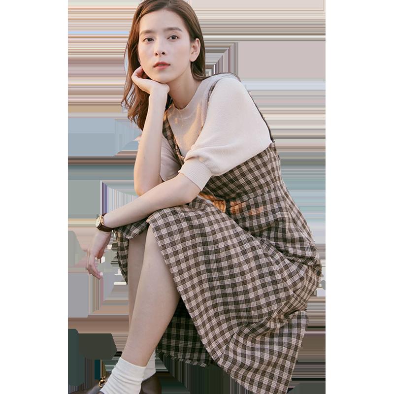QFOUR秋2018新款chic港味背带长裙复古吊带裙子格子连衣裙森女系