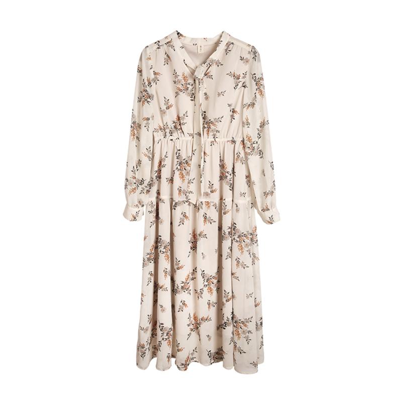 梅子熟了小清新碎花雪纺裙长袖复古中长款仙女连衣裙2019春装新款