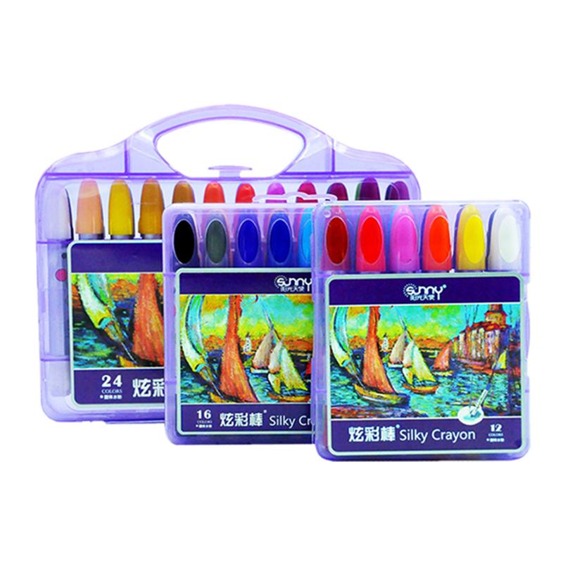 阳光天使 24色儿童丝滑炫彩棒 12色火箭型彩色笔16色学生油画棒水溶性旋转式画棒粉蜡笔幼儿园早教涂鸦画材