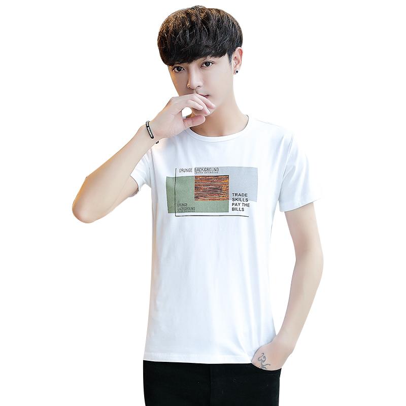 2019夏季新款圆领短袖t恤男士韩版修身潮牌丅半袖体桖上衣服男装