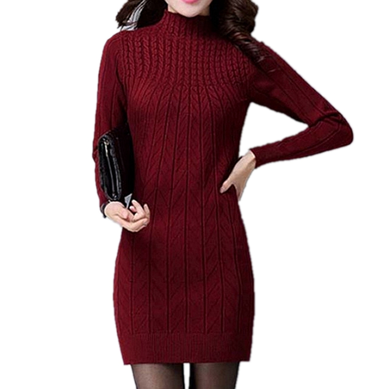 加绒羊绒毛衣女中长款冬韩版加厚圆领羊毛针织衫修身包臀连衣裙秋