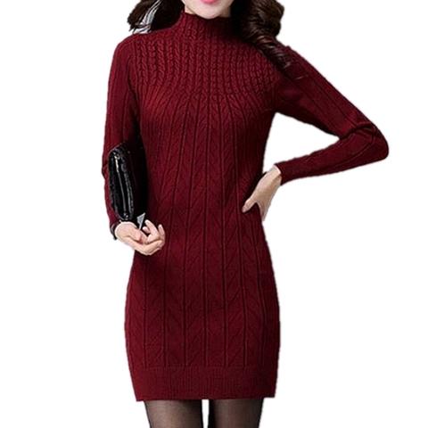 秋冬季中长款毛衣针织衫女套头加厚羊毛打底衫女修身加绒羊绒上衣