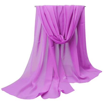新款春秋百搭纯色长款防晒雪纺纱巾