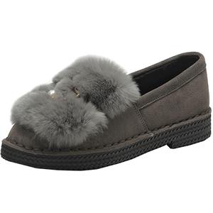 卓诗尼2018冬靴季新款厚底兔毛毛鞋加绒棉鞋女短筒雪地靴豆豆鞋子
