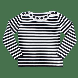 黑白条纹春秋新款韩版宽松针织衫