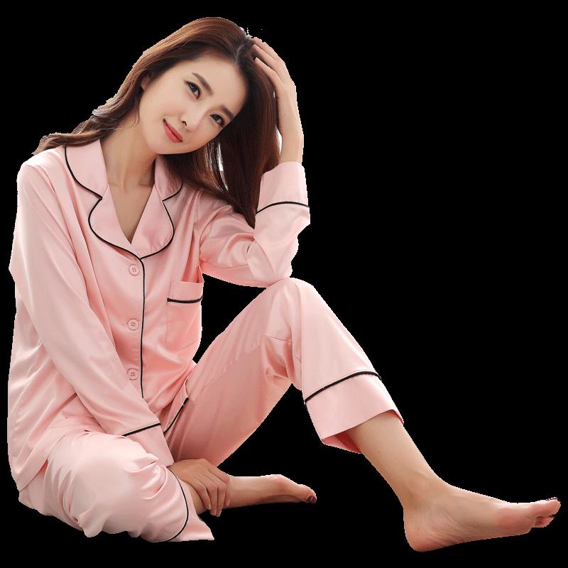 春秋季丝绸女套装性感长袖薄睡衣