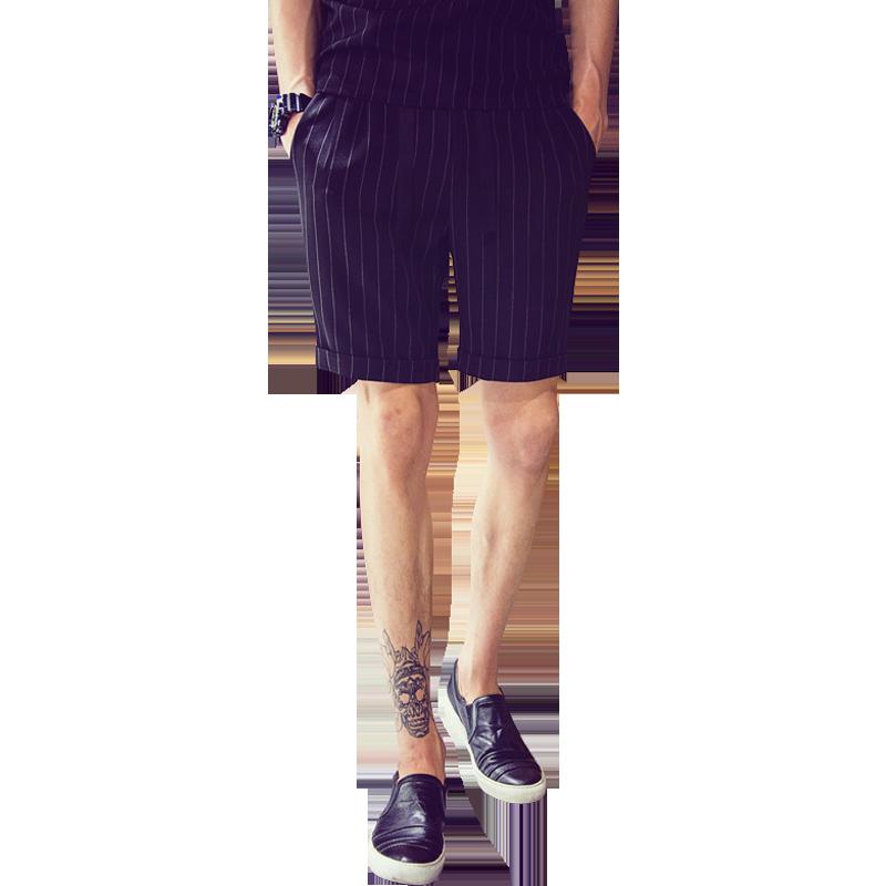 休闲条纹短裤男潮宽松透气沙滩裤子夏季男薄款工装五分裤运动速干