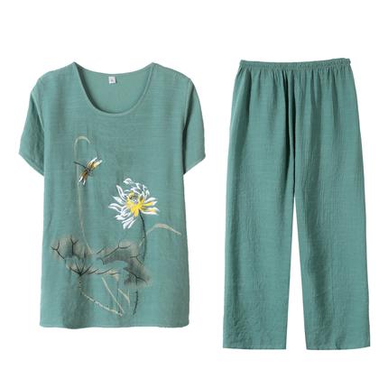 母亲节夏季中年女装棉麻短袖上衣