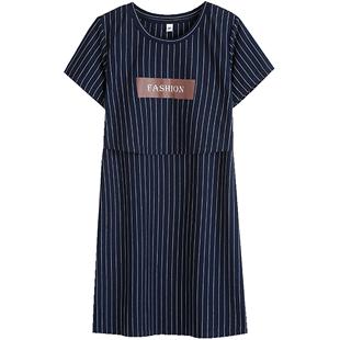 哺乳外出夏装短袖款纯棉显瘦连衣裙