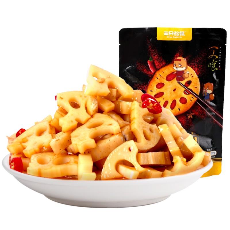 【三只松鼠_脆藕150gx2袋】新鲜香辣洞庭藕片卤味休闲零食小吃