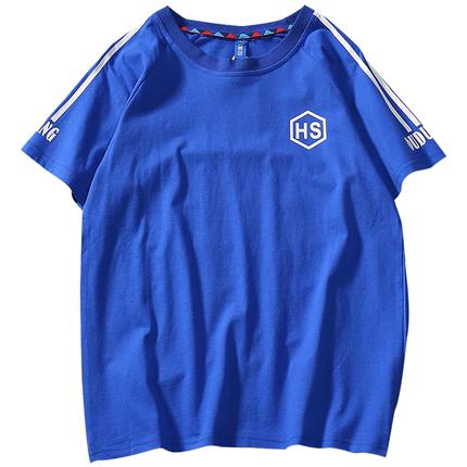 日系复古潮牌三杠短袖英文bf风t恤