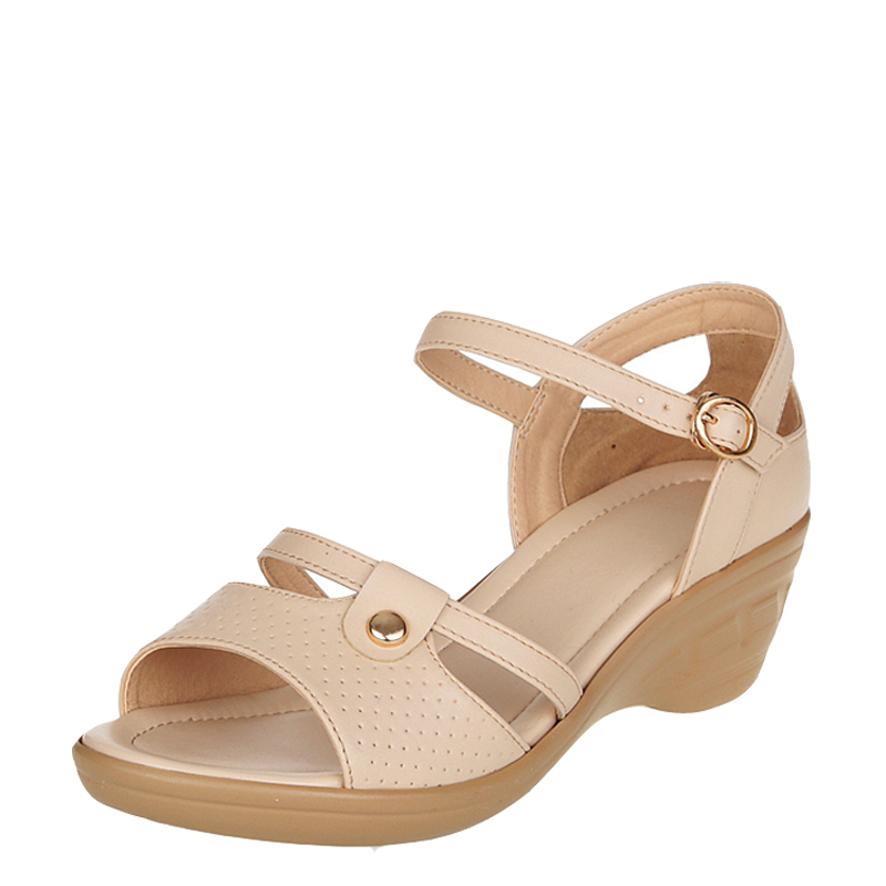 19新款夏季凉鞋女平底中年女装凉鞋41 真皮凉鞋女中跟大码妈妈鞋