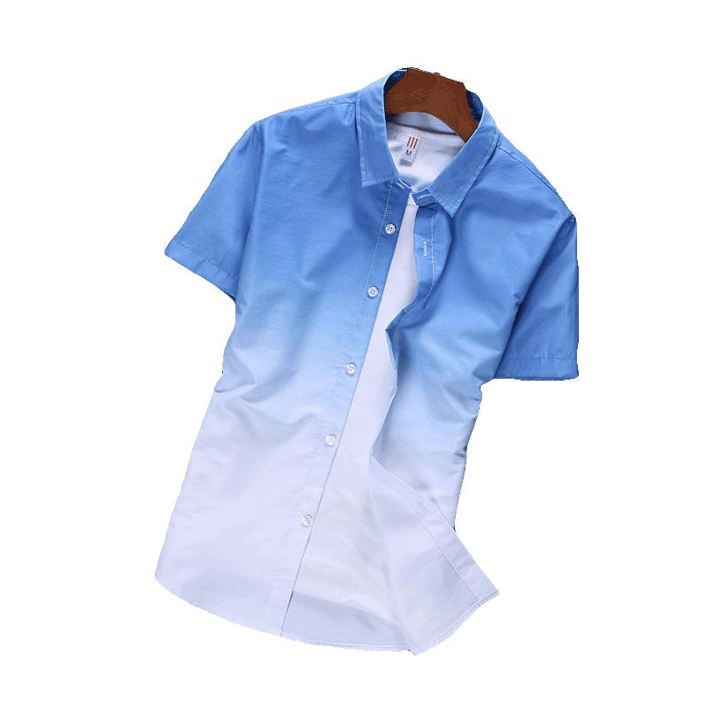 清新渐变男士短袖夏季休闲宽松衬衫
