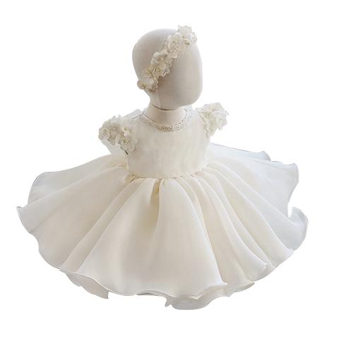 儿童礼服女童公主裙白色夏季小主持人晚礼服花童婚纱演出服蓬蓬裙