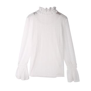 喇叭袖网纱上衣2019秋季时尚新款高领镂空蕾丝衫显瘦小衫女士内搭