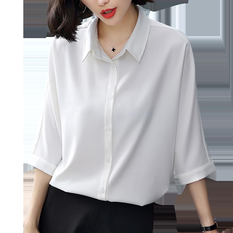 茁美七分袖雪纺衬衫女 夏季薄款半袖衬衣 宽松显瘦气质上衣女