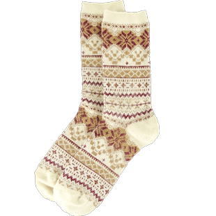 3zu足装秀专柜民族风麋鹿中羊毛袜