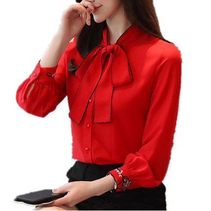 长袖2019新款小衫女红色洋气白衬衫