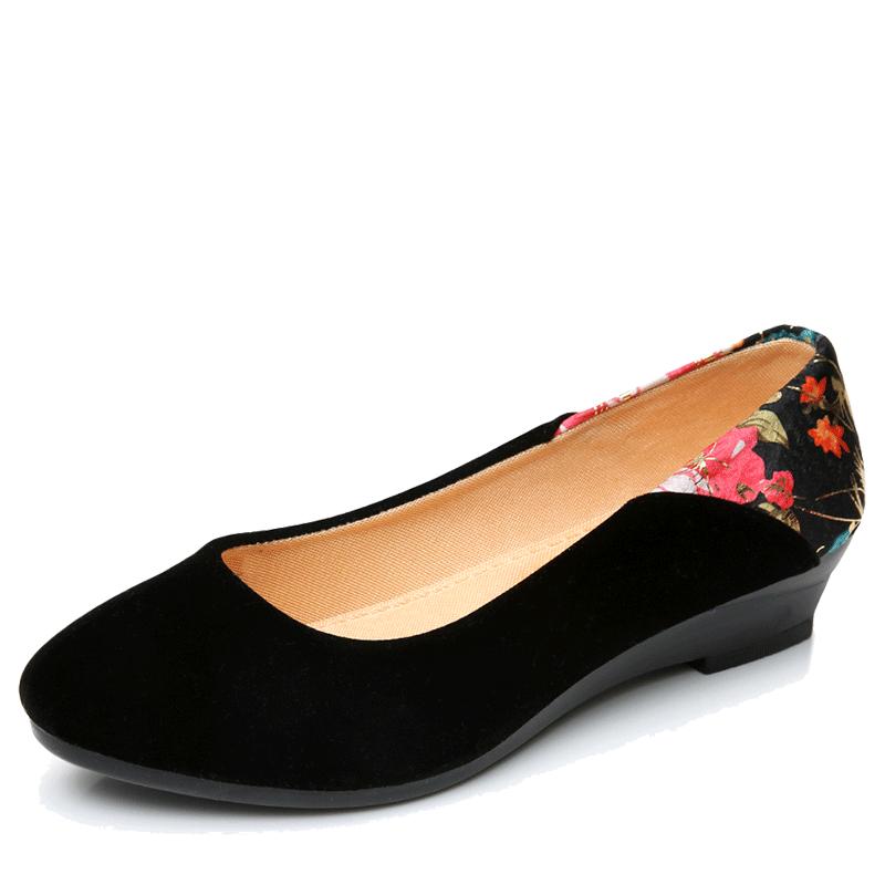 京儿丫秀正品老北京布鞋女黑色工作鞋坡跟工装鞋女黑平绒女布鞋