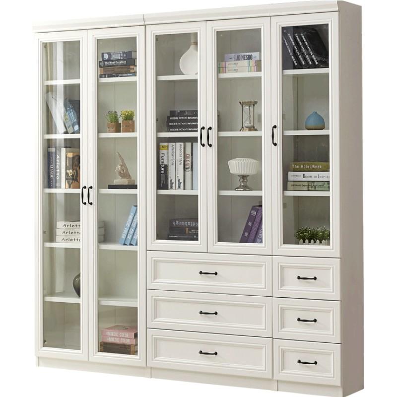 简欧落地带门书架现代简约玻璃柜质量可靠吗