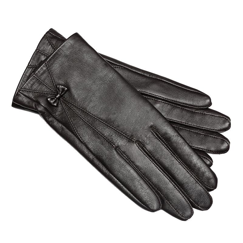 皮尔卡丹真皮羊皮触摸屏手套女冬天加绒加厚保暖开车骑车防风薄款