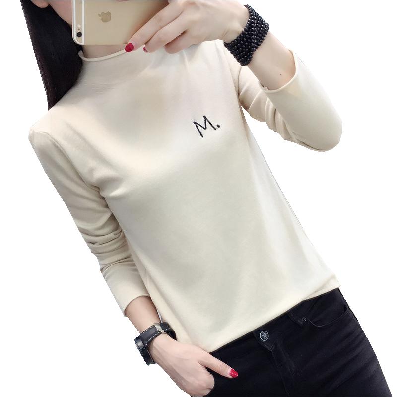2019秋冬季新款短套头毛衣女装半高领宽松内搭长袖针织打底衫薄款
