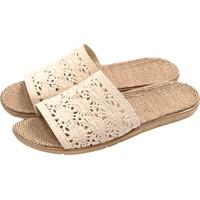 圣丁努夏季亚麻拖鞋男女情侣地板居家室内厚底防滑家居凉拖鞋夏天
