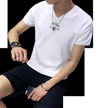 夏装2018新款男士短袖男装v领t恤