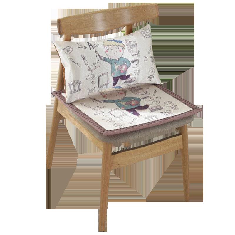 夏季椅垫夏天透气椅子冰丝坐垫防滑学生卡通凉席餐垫办公室座垫子