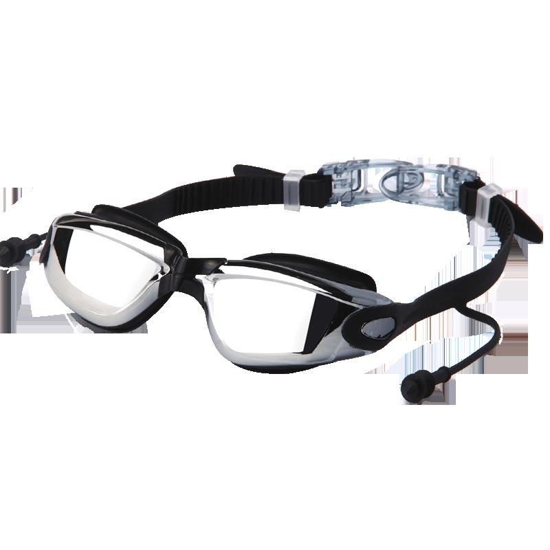 新款大框防雾泳镜女高清防水连体耳塞游泳镜 平光游泳眼镜男通用