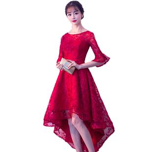敬酒服新娘2020新款氣質結婚平時可穿酒紅色宴會小個子晚禮服裙女