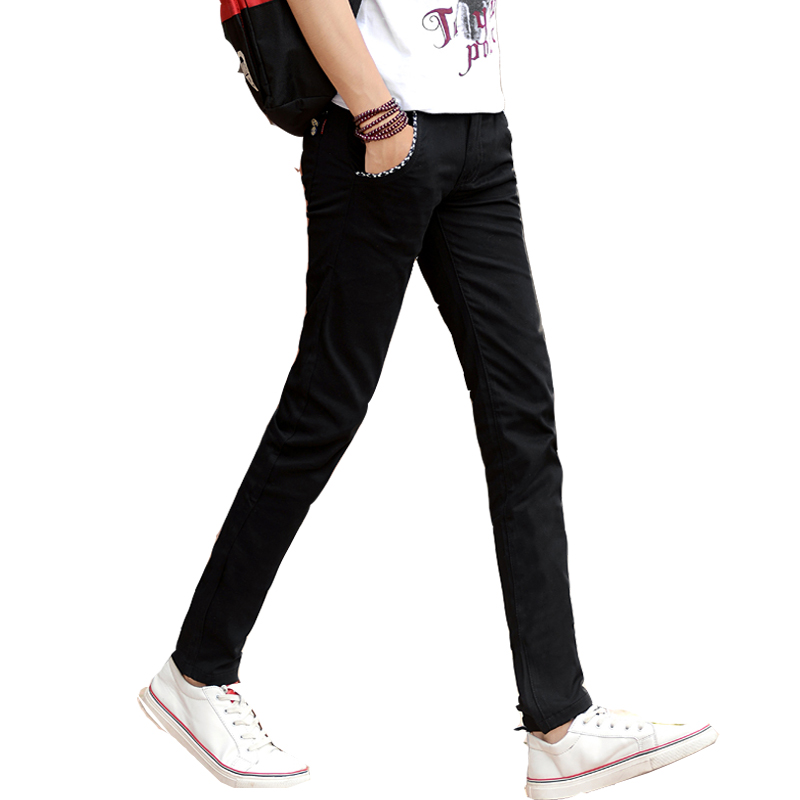 春秋季新款青少年男休闲裤修身韩版英伦小脚裤子长裤弹力黑色男裤