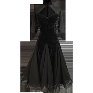 华尔兹舞裙复古旗袍国标舞艾美舞服