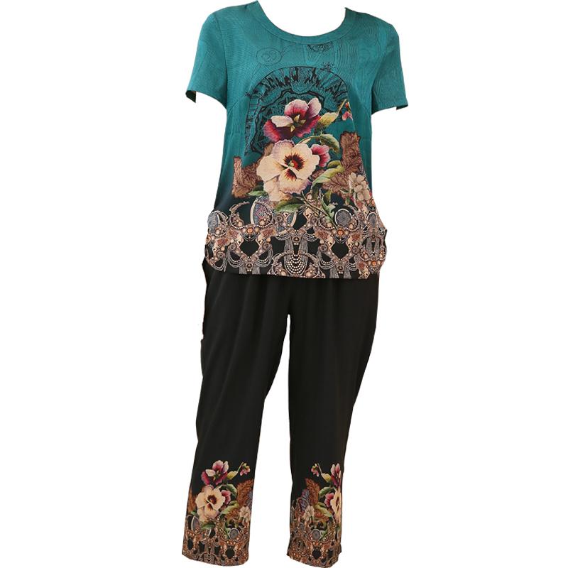 中老年女夏装短袖套装中年人T恤上衣服妈妈两件套奶奶洋气40-50岁