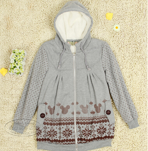 The new Korean pregnant women jacket maternity winter coat jacket zipper hooded sweater pregnant women have lambs wool